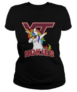 Unicorn dabbing Virginia Tech Hokies ladies tee