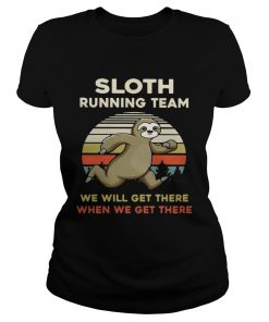 Vintage Sloth running team we will get there when we get there ladies tee