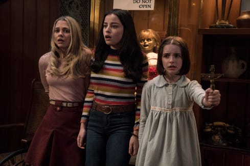 """Madison Iseman (from left), Katie Sarife and Mckenna Grace star as youngsters dealing with a house of horrors in """"Annabelle Comes Home."""""""