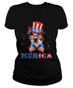 American Flag Merica Patriotic Boston Terrier 4th of July  Classic Ladies