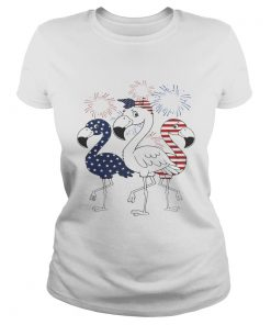 Flamingo 4th of July independence day American flag fireworks  Classic Ladies