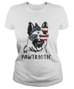 German Shepherd Pawtriotic With American Flag 4th Of July  Classic Ladies