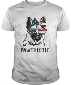 German Shepherd Pawtriotic With American Flag 4th Of July  Unisex
