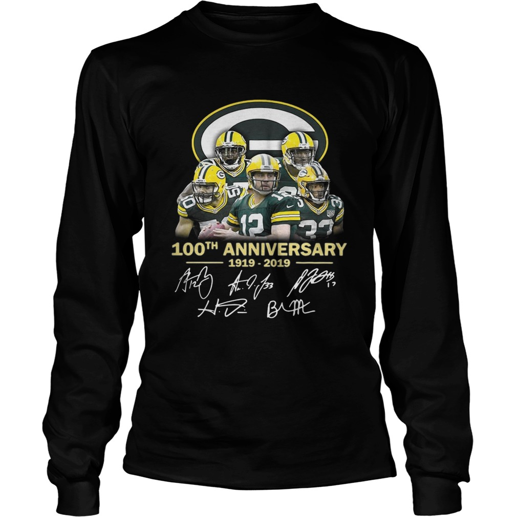 new style 66c7f 0a30b Green Bay Packers 100th anniversary 1919 2019 signature shirt