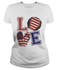Love Baseball Softball Flip Flops USA Flag 4th Of July Shirt Classic Ladies