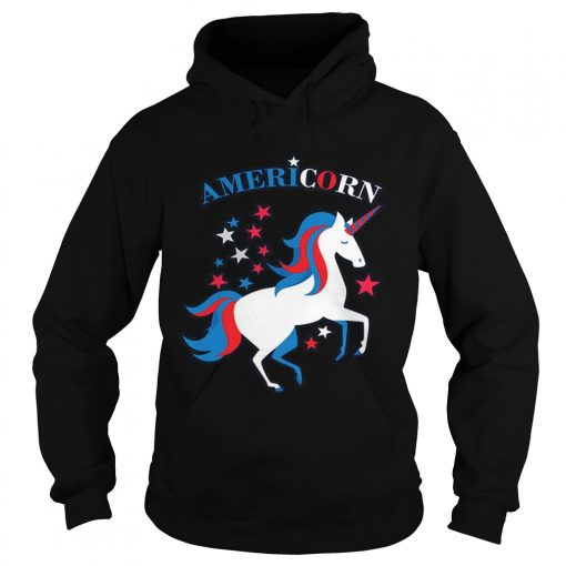 Patriotic American Flag Unicorn Americorn 4th of July  Hoodie