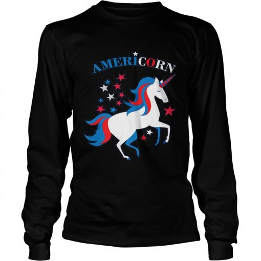 Patriotic American Flag Unicorn Americorn 4th of July  LongSleeve