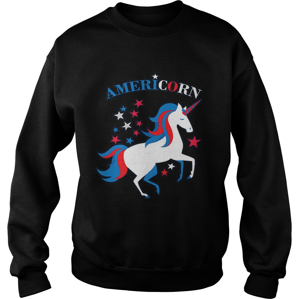 Patriotic American Flag Unicorn Americorn 4th of July Sweatshirt