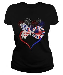 Premium Fireworks Butterfly love sunflower American flag  Classic Ladies