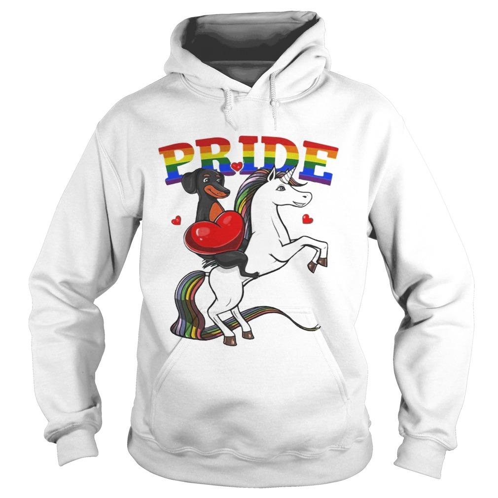 Pride Dachshund Riding Unicorn LGBT Pride Shirt Hoodie