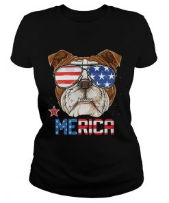 Sunglass Bulldog Merica 4th July independence day American flag  Classic Ladies
