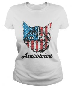 Top Ameowica Cat 4th of July Independence Day American flag  Classic Ladies