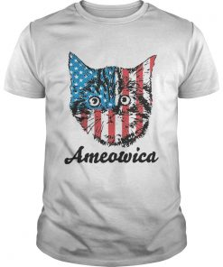 Top Ameowica Cat 4th of July Independence Day American flag  Unisex