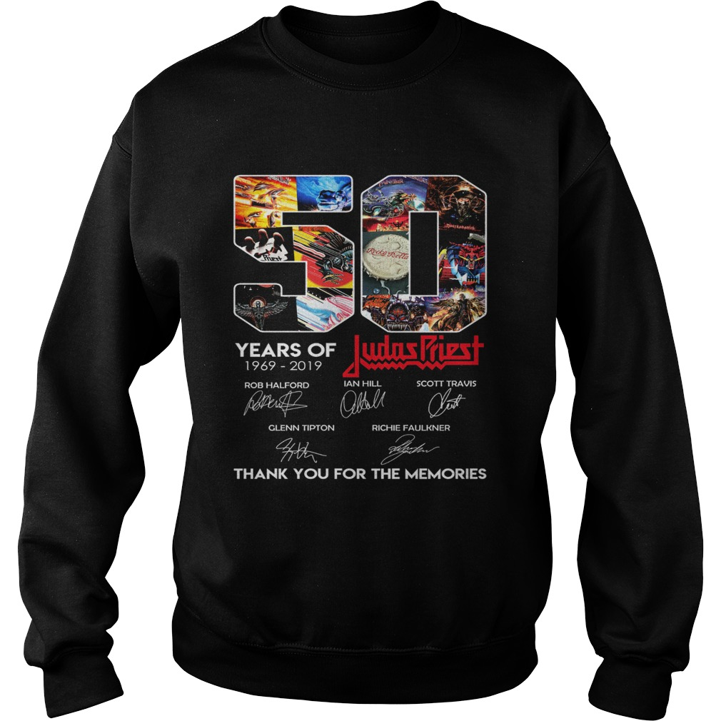 50 years of Judas Priest 1969 2019 signature thank you for the Sweatshirt