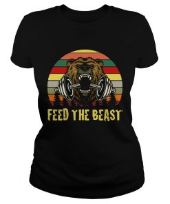 Bear weightlifting Feed The Beast retro  Classic Ladies