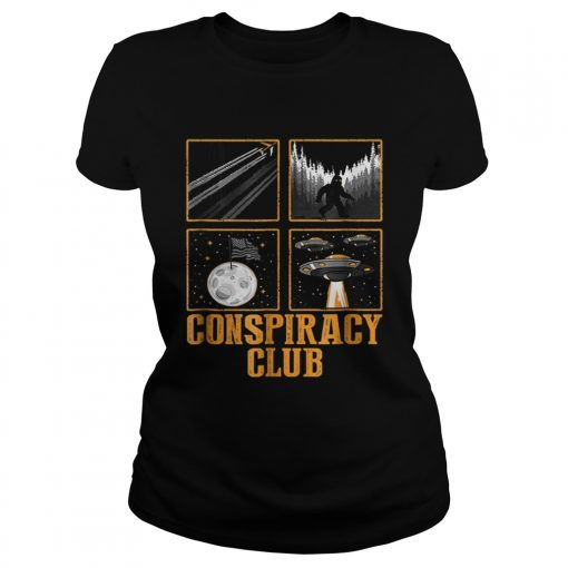 Conspiracy Club Bigfoot Ufo Aliens Moon Landing  Classic Ladies