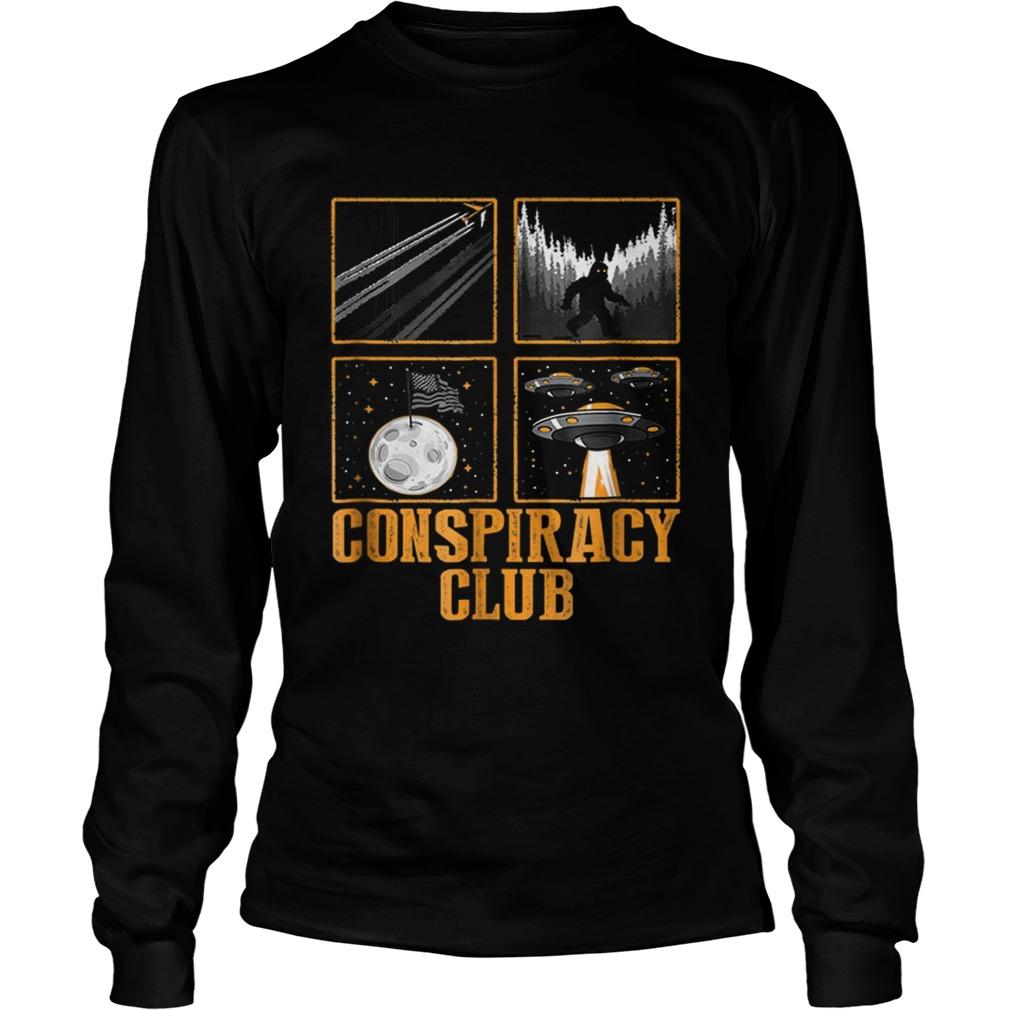 Conspiracy Club Bigfoot Ufo Aliens Moon Landing LongSleeve