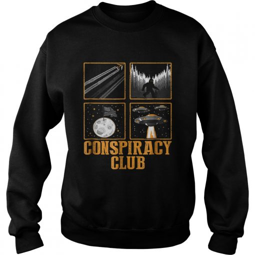 Conspiracy Club Bigfoot Ufo Aliens Moon Landing  Sweatshirt