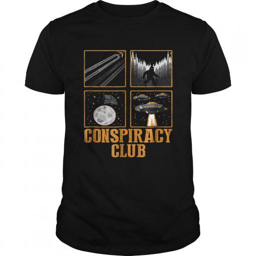 Conspiracy Club Bigfoot Ufo Aliens Moon Landing  Unisex