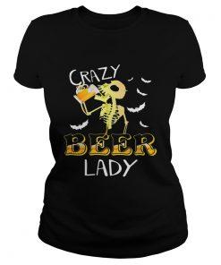 Crazy beer lady Halloween Skeleton beer funny  Classic Ladies