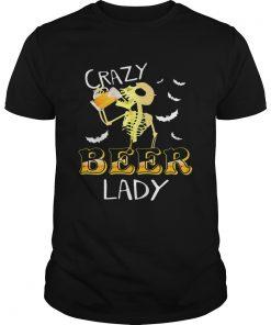 Crazy beer lady Halloween Skeleton beer funny  Unisex