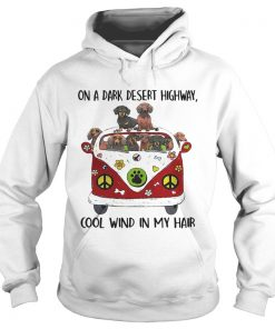 Dachshund hippie van on a dark desert highway cool wind in my Hoodie