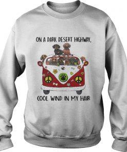 Dachshund hippie van on a dark desert highway cool wind in my Sweatshirt