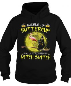 Halloween Flamingo buckle up buttercup you justflipped my witch Hoodie