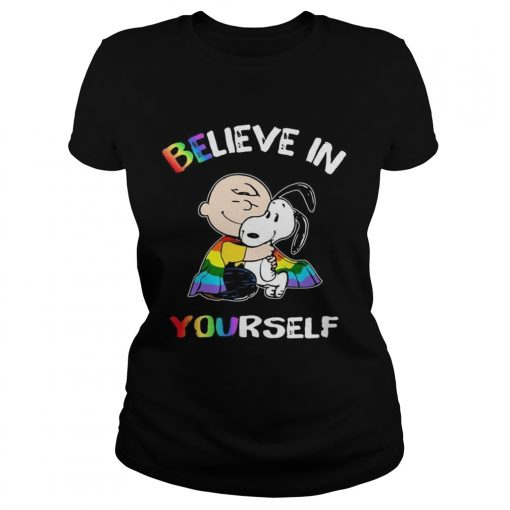 Lgbt Snoopy and Charlie Brown believe in yourself  Classic Ladies