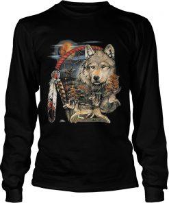 Native American Indian Dream Catcher Wolf Moon Animal Spirit Shirt Kingteeshop