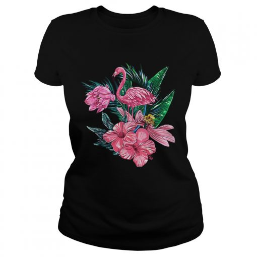 Pink Flamingo Watercolor Hawaiian Flowers Floral  Classic Ladies