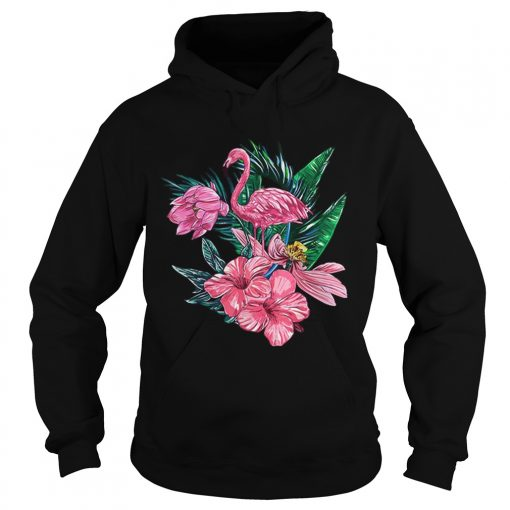 Pink Flamingo Watercolor Hawaiian Flowers Floral  Hoodie