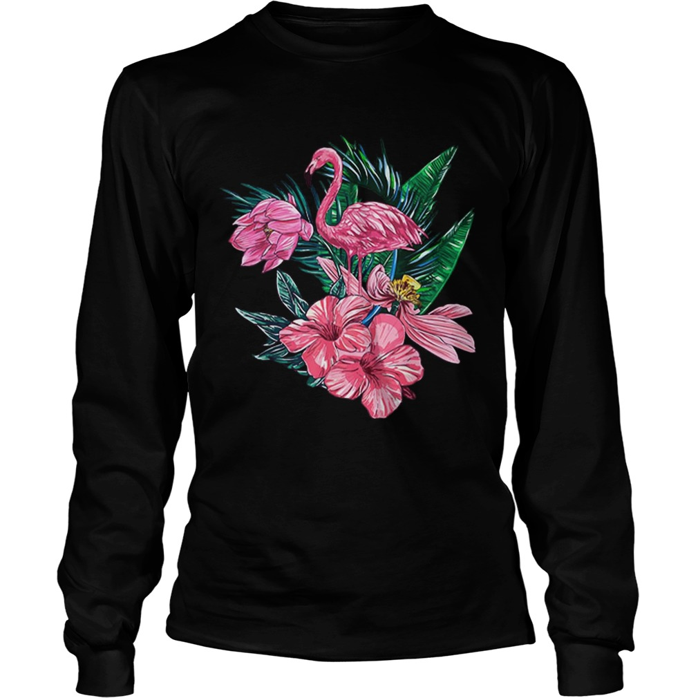 Pink Flamingo Watercolor Hawaiian Flowers Floral LongSleeve