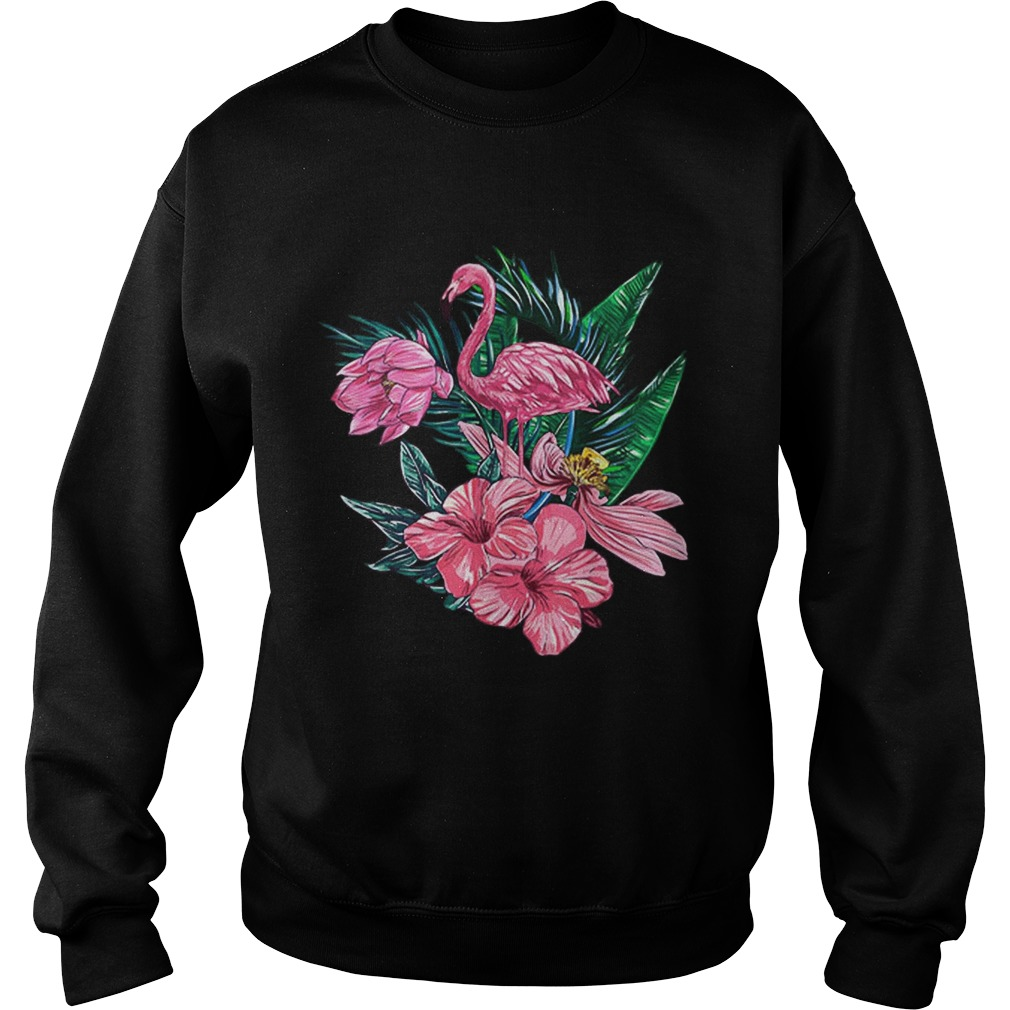 Pink Flamingo Watercolor Hawaiian Flowers Floral Sweatshirt