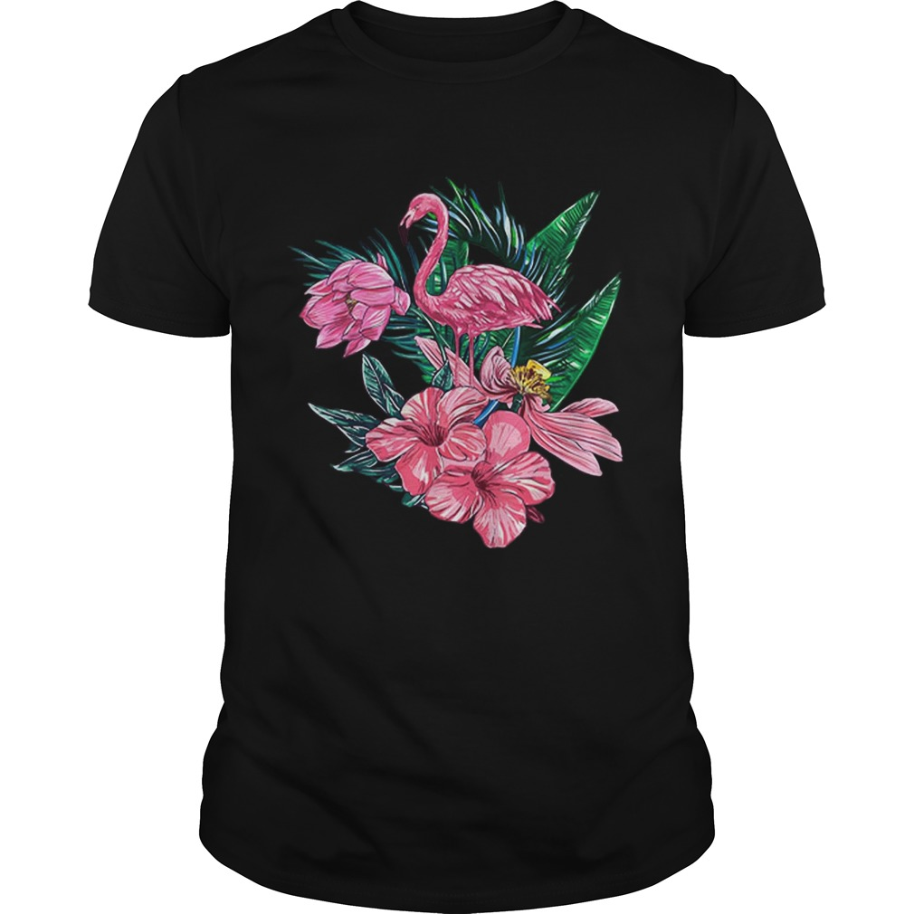 Pink Flamingo Watercolor Hawaiian Flowers Floral Unisex