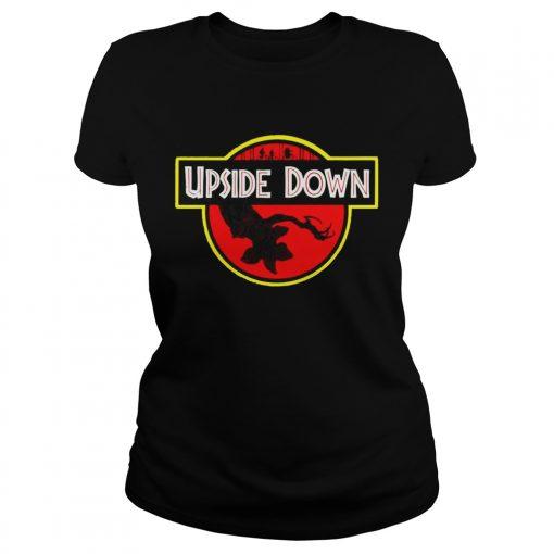 Stranger Things Upside Down Jurassic Park Badge TShirt Classic Ladies