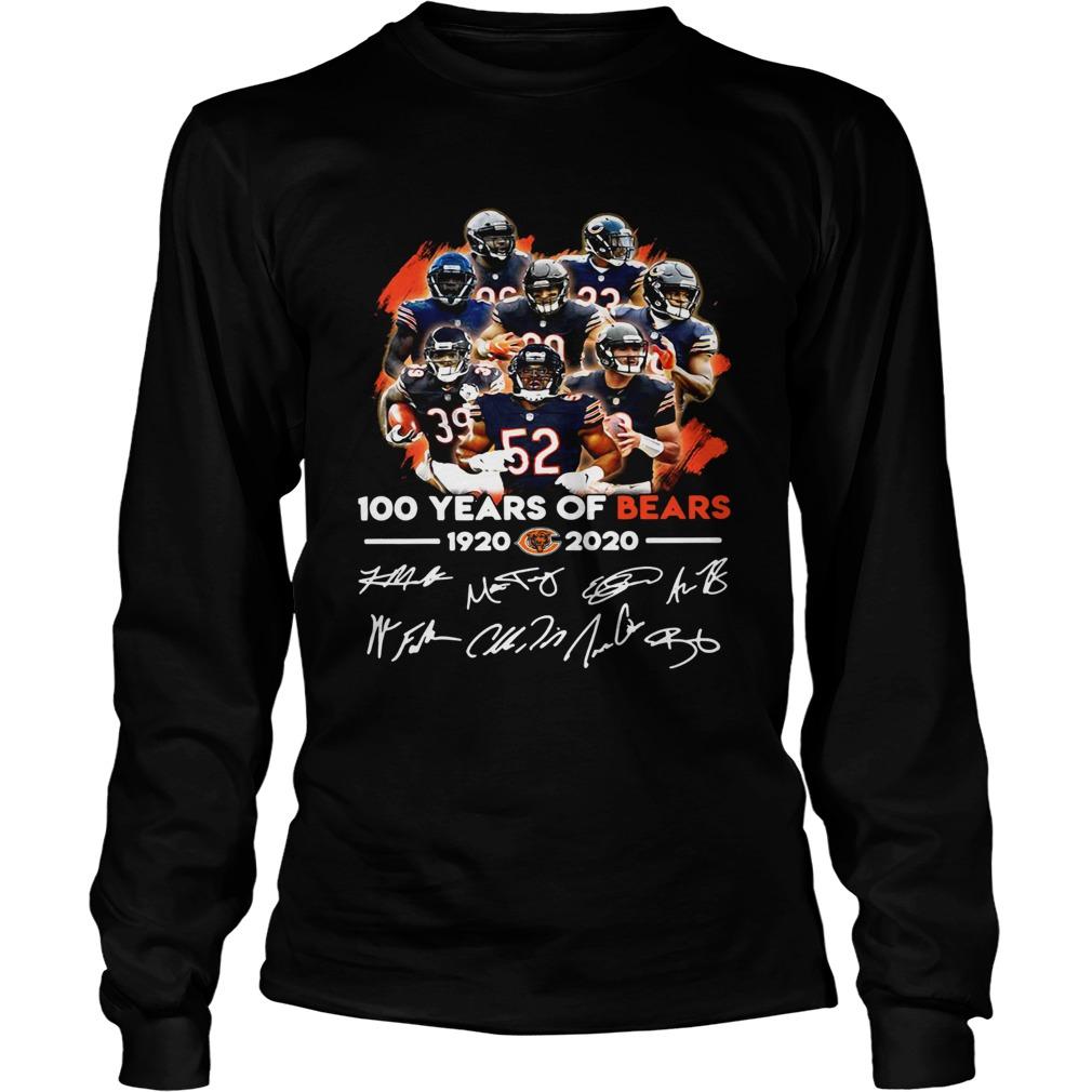 100 years of Chicago Bears 1920 2020 signature LongSleeve