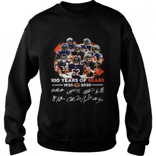 100 years of Chicago Bears 1920 2020 signature  Sweatshirt
