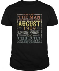 1969 Man Myth Legend August 50th Bday Gifts 50 yrs old TShirt Unisex