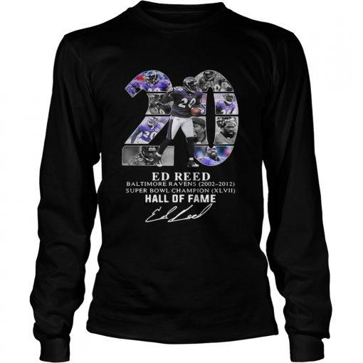 20 Ed Reed Baltimore Ravens 20022012 super Bowl Champion hall of fame  LongSleeve
