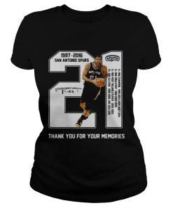 21 Tim Duncan San Antonio Spurs 1997 2016  Classic Ladies
