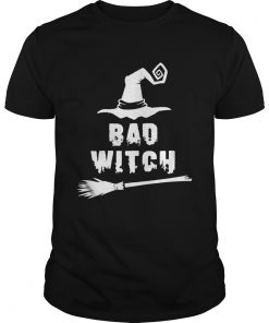Bad Witch Magic Hat Broomstick For Halloween Costume TShirt Unisex