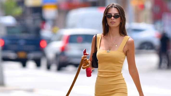 Emily Ratajkowski Continues Walking Her Dog in Style