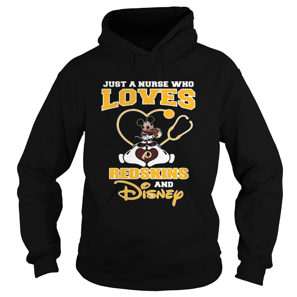 295f8651 Just a nurse who loves Washington Redskins and Disney shirt