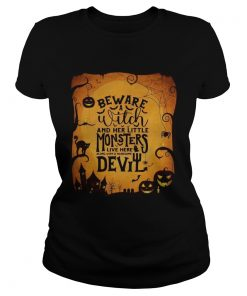 Monsters Garden Flag beware a witch and her little monsters Halloween  Classic Ladies