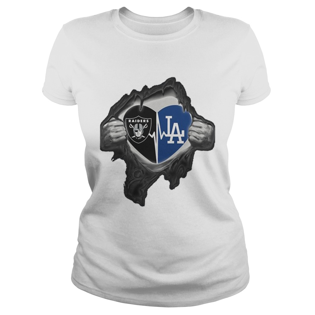 Oakland Raiders Inside My Heart Los Angeles Dodgers Shirt