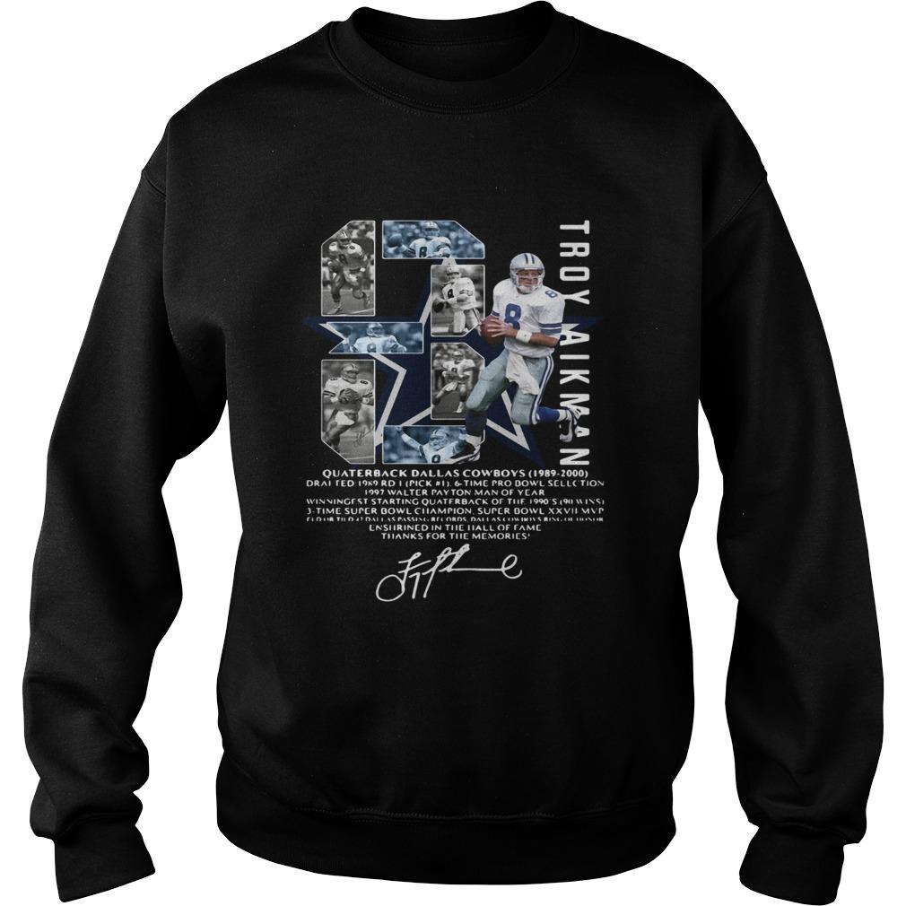 Troy Aikman 8 Quarterback Dallas Cowboys signature Sweatshirt