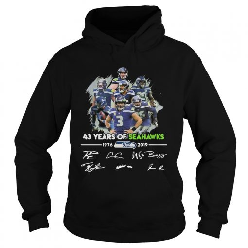 43 Years of Seattle Seahawks 19762019 signatures  Hoodie