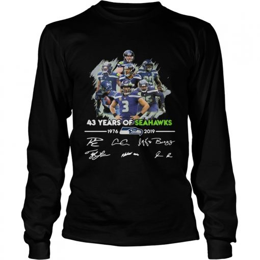 43 Years of Seattle Seahawks 19762019 signatures  LongSleeve