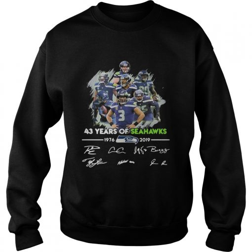 43 Years of Seattle Seahawks 19762019 signatures  Sweatshirt